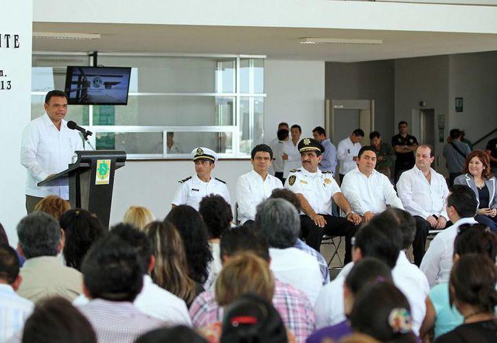 El gobernador Rolando Zapata en un evento este viernes en la Fiscalía General de Justicia. (SIPSE)