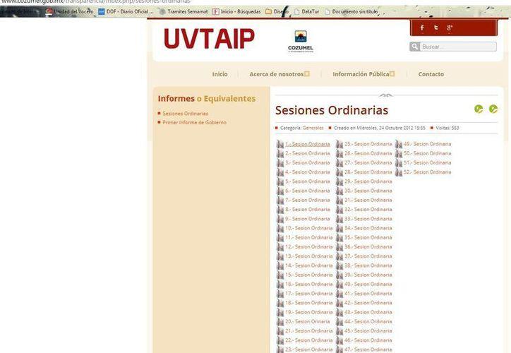 Durante la administración 2011-2013 se publicaron en la página de la UVTAIP algunas actas de cabildo ordinarias. (Julian Miranda/SIPSE)