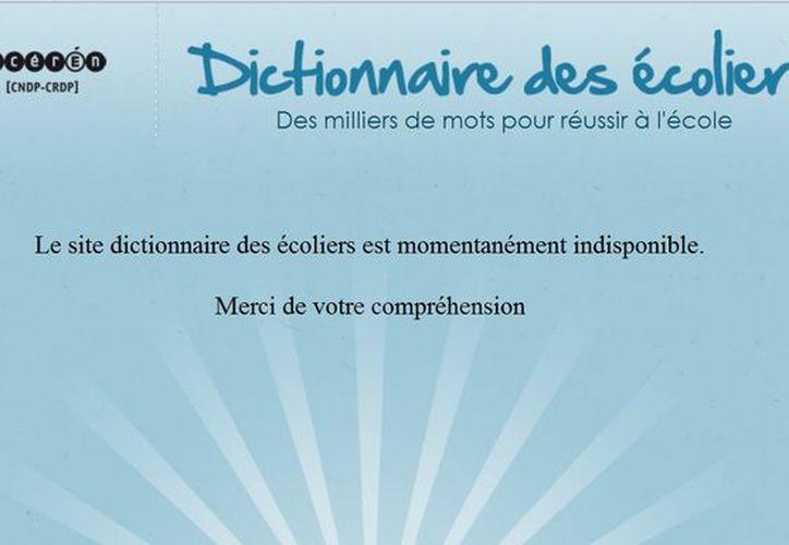 El sitio se muestra temporalmente no disponible. (cndp.fr/dictionnaire-des-ecoliers)