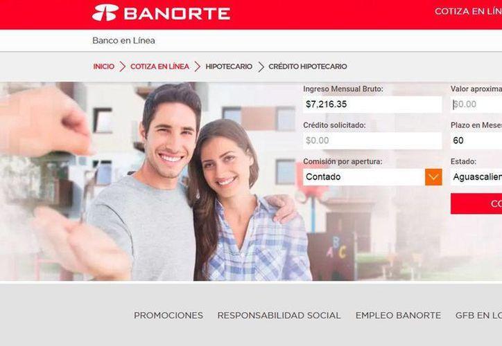 En el sitio web del banco, el sistema presenta el monto de enganche, plazo, mensualidad y tasa de interés, entre otros datos. (Captura de pantalla. www.banorte.com)