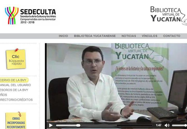 La Biblioteca Virtual Yucatán  registra actualmente unas 8,000 visitas por mes; los usuarios pueden acceder a 20,000 títulos entre documentos y libros que muestran la historia de Yucatán. La imagen es de la página de internet y es de contexto.