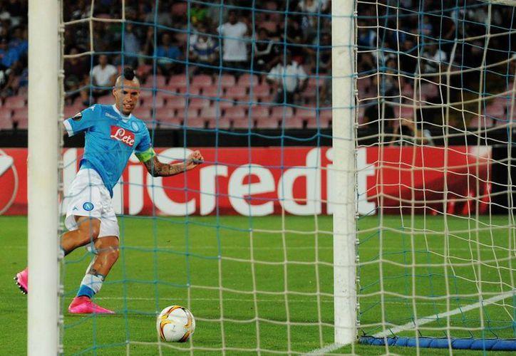 Marek Hamsik fue uno de los anotadores en la goleada por 5-0 del Napoli sobre el Krasnodar en partido de fase de grupos de Europa League. (AP)