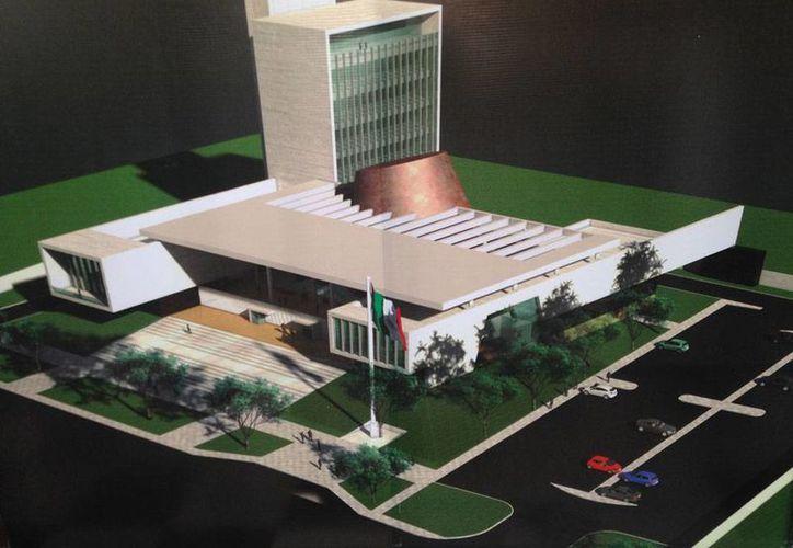 Proyecto arquitectónico (vista aérea) del nuevo edificio del Congreso del Estado de Yucatán. (Oficial)