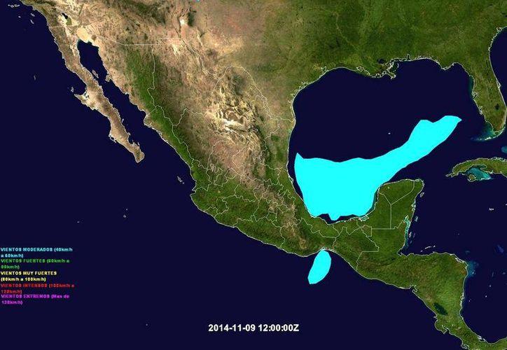 Zona que estará bajo la influencia del frente frío número 10 en el Golfo de México. (@ClimaYucatan)