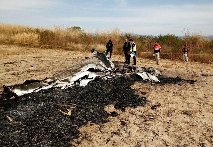 Los restos de la avioneta son resguardados por las autoridades. (Foto: El Debate)