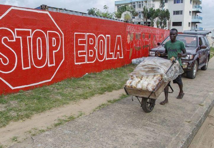 Un hombre lleva pan junto a un muro en con un anuncio de la campaña crada para combatir el brote de ébola en África Occidental, en Monrovia, Liberia. (Archivo/EFE)