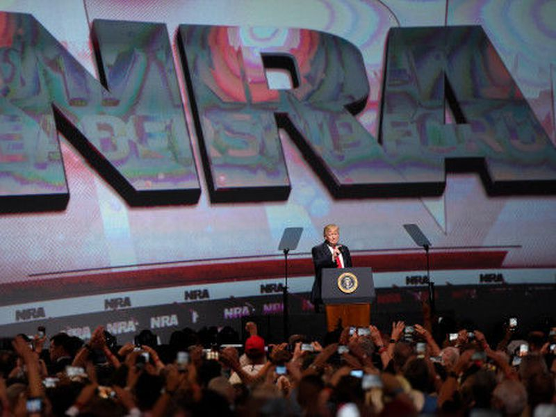President Donald Trump speaks during the National Rifle Association-ILA Leadership Forum, in Atlanta. (AP)