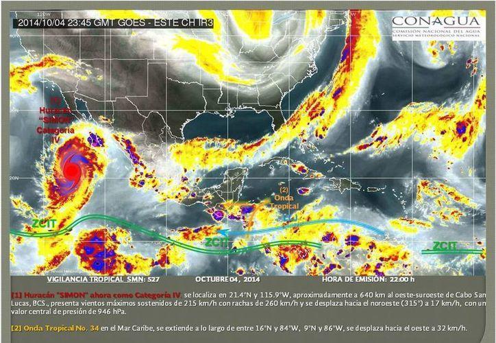 Imagen de satélite difundida por Conagua en Twitter en la que pueden verse los diversos sistemas que afectan al país. Destacan el hucarán Simon, en el Pacífico, y una onda tropical en el Caribe. (Conagua)