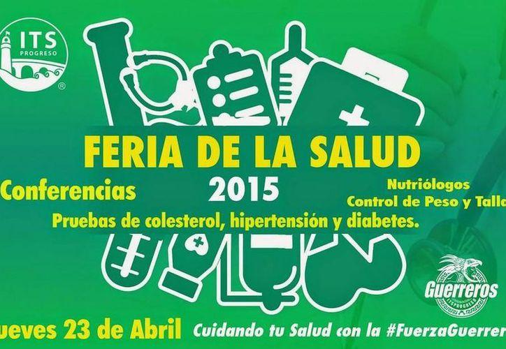 Cartel promocional de la Feria de la Salud 2015, en el Instituto Tecnológico Superior de Progreso. (Cortesía)