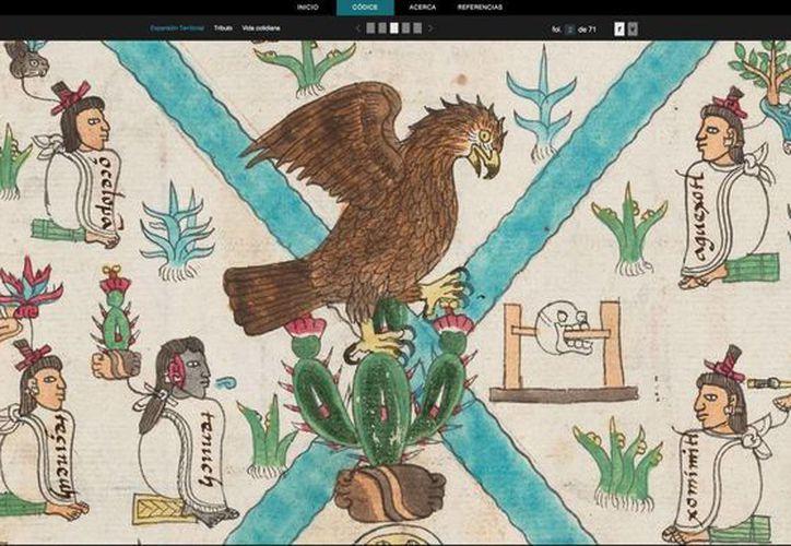 El códice Mendoza que aparece en la aplicación, está integrado por 72 folios ilustrados y anotados en náhuatl se acompaña de 63 folios con la glosa, y anotaciones paralelas en español antiguo, destinadas a los conquistadores. (Foto de contexto de Notimex)