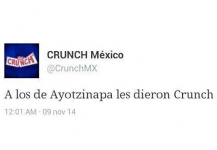El polémico tuit que se publicó en la cuenta de chocolates Crunch de Nestlé. (Twitter)