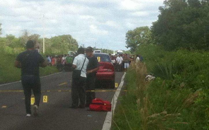 Las autoridades acordaron el área y cerraron la circulación de la vialidad. (Benjamín Pat/SIPSE)