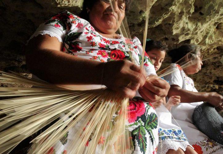 Imagen de una mujer yucateca mientras realiza un sombrero jipijapa en una cueva en Pebá, comisaría del municipio de Abalá. Según una encuesta de Fonart la mayoría de los artesanos son mujeres. (SIPSE)