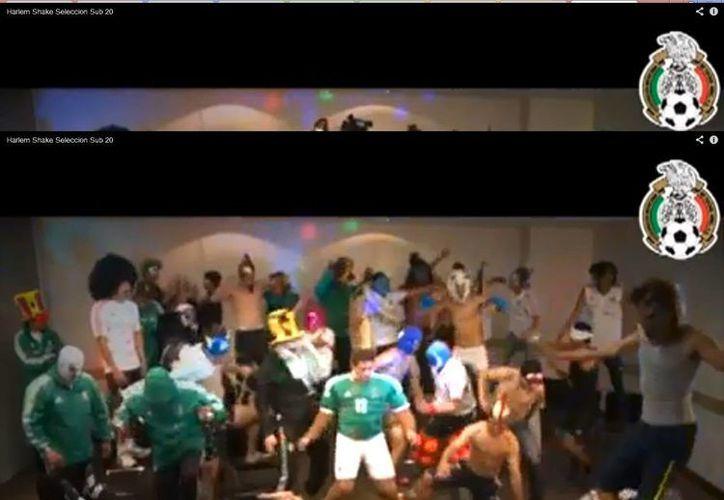 """La selección mexicana sub-20 baila el """"Harlem Shake"""" para celebrar el campeonato. (Captura de pantalla de Youtube)"""