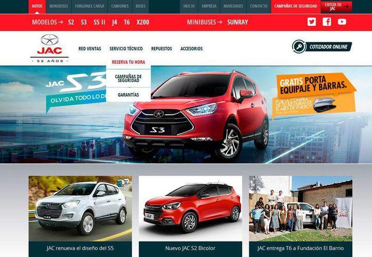 Captura de pantalla del sitio web de la firma JAC Motors, que fabricará dos modelos de camioneta en Hidalgo, México. (www.jacautos.cl)