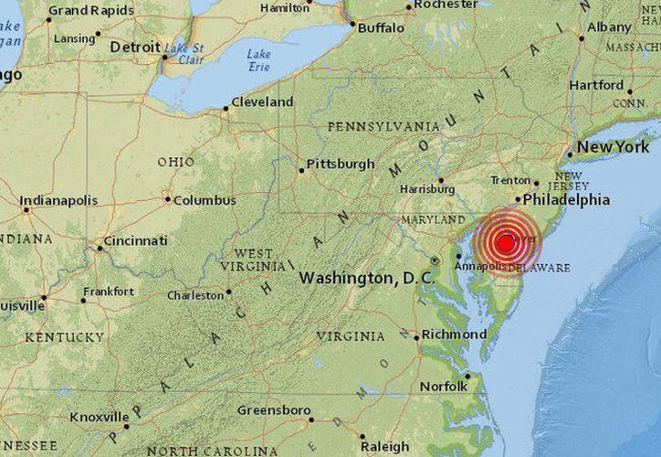 El movimiento telúrico se ha registrado cerca de Dover, estado de Delaware.