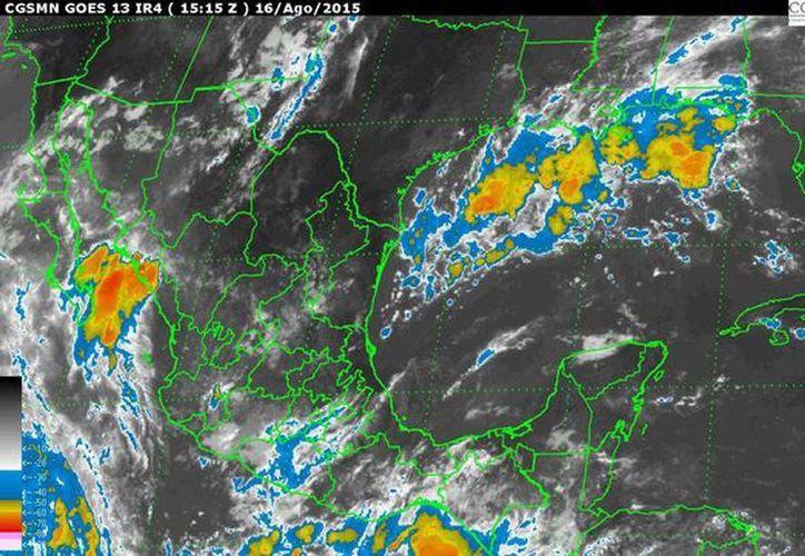 La Península de Yucatán mostrará cielo despejado a medio nublado, 40 por ciento de probabilidad de lluvias fuertes con tormenta eléctrica en Yucatán y Campeche, y de menor intensidad en Quintana Roo. (smn.cna.gob.mx)
