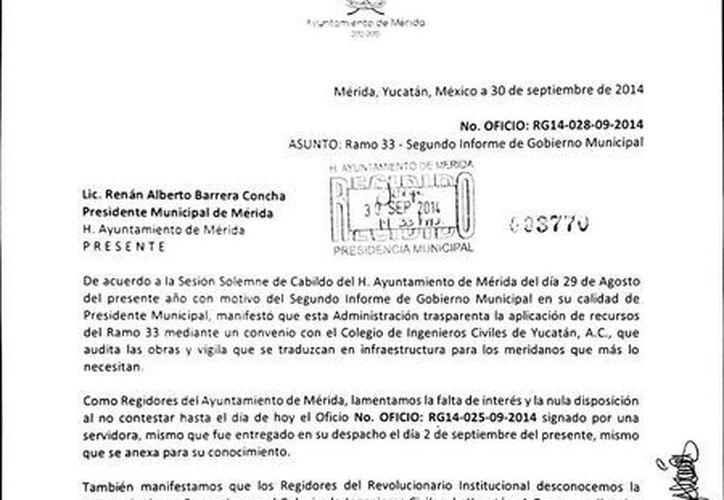 Copia del oficio que se envió al alcalde de Mérida, Renán Barrera Concha, solicitándole información sobre la auditoría del Colegio de Ingenieros Civiles. (SIPSE)