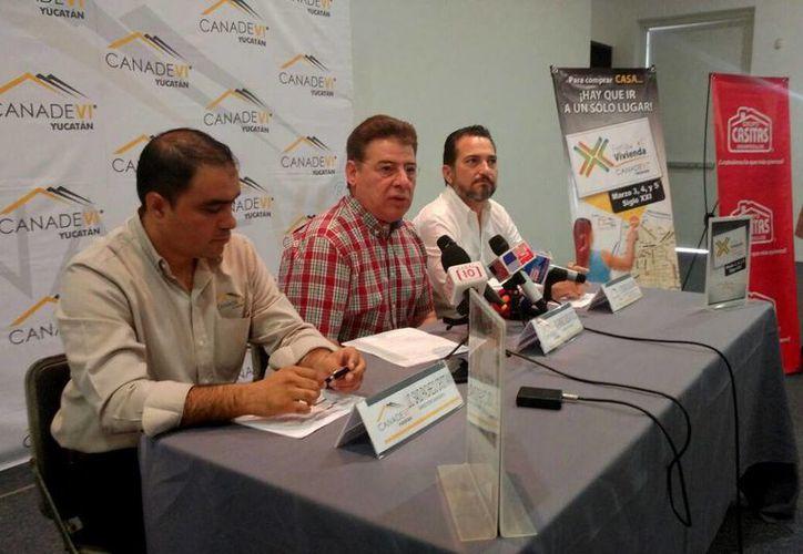 En una rueda de prensa, la Canavedi dio los pormenores de la Feria Vivienda que se realizará en Mérida en los primeros días de marzo. (José Acosta/Milenio Novedades)