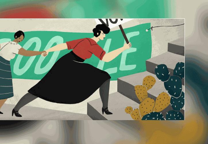 Google creó un 'doodle' para Elvia Carrillo Puerto festejando el 139 aniversario del nacimiento de la activista que luchó por los derechos de las mujeres. (Captura de pantalla)
