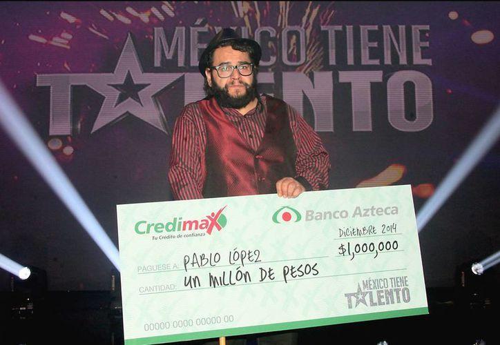 Pablo López fue el gran ganador de un millón de pesos en la primera temporada de 'México tiene talento'. (Redacción/SIPSE)