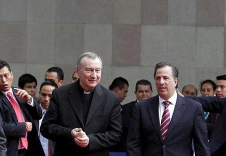 Imagen del secretario de Relaciones Exteriores, José Antonio Meade y del secretario de Estado del Vaticano, Pietro Parolin, quien se encuentra en México, como parte de una visita de trabajo. (Notimex)
