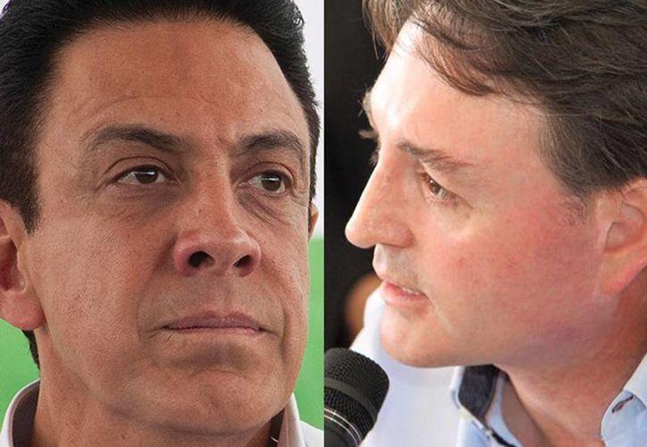 Omar Fayad, candidato del PRI a gobernador de Hidalgo, y su adversario panista Francisco Xavier Berganza. (Excelsior)