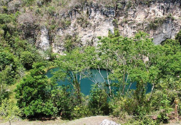 """El maravilloso cenote """"Cocodrilo Dorado"""" sin ser explorado por los visitantes. (Edgardo Rodríguez/SIPSE)"""