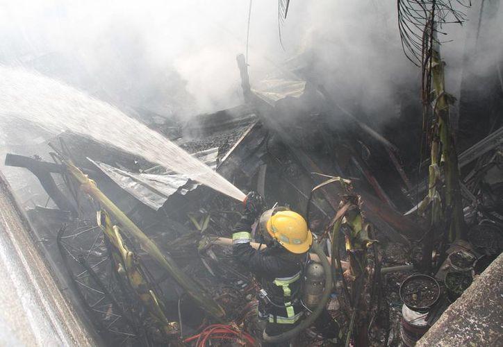 Los elementos de Bomberos sofocaron el incendio. (Julián Miranda/SIPSE)