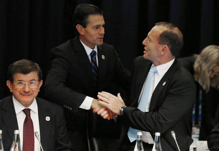 El presidente Enrique Peña Nieto de México, centro, saluda el primer ministro australiano, Tony Abbott, derecha, en la reunión del B-20 antes de la cumbre del G-20 en Brisbane. (Agencias)