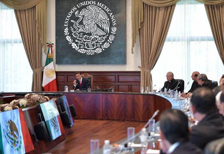 Peña Nieto mantuvo una reunión con los integrantes del Episcopado. (Notimex)