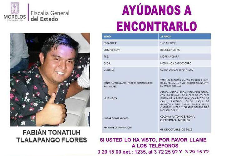 Fabián Tonatiuh Tlalapango Flores era buscado por su familia desde el 8 de octubre de 2016. (Internet)