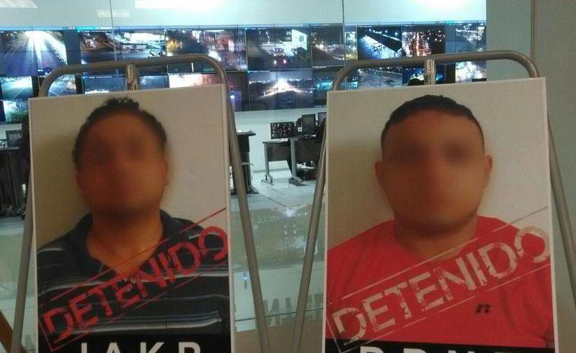 Estos son los dos hombres presentados por la SSP como presuntos agresores de un chofer de Uber en Mérida. (SIPSE)