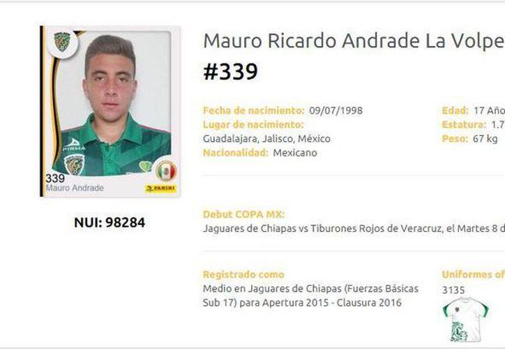 Mauro Andrade, juvenil de Jaguares, debutó este miércoles en la Copa MX. (Captura de pantalla)