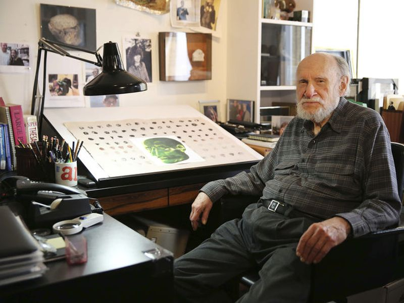 Art Paul, the original Art Director for Playboy Magazine, poses in his home studio in Chicago.