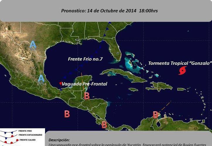 Carta de pronóstico del tiempo para mañana martes en la Península de Yucatán. (Conagua)
