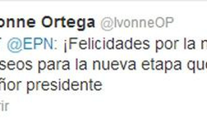 La exgobernadora Ivonne Ortega recibió felicitaciones vía redes sociales, incluida de la del presidente Enrique Peña Nieto. (Twitter)