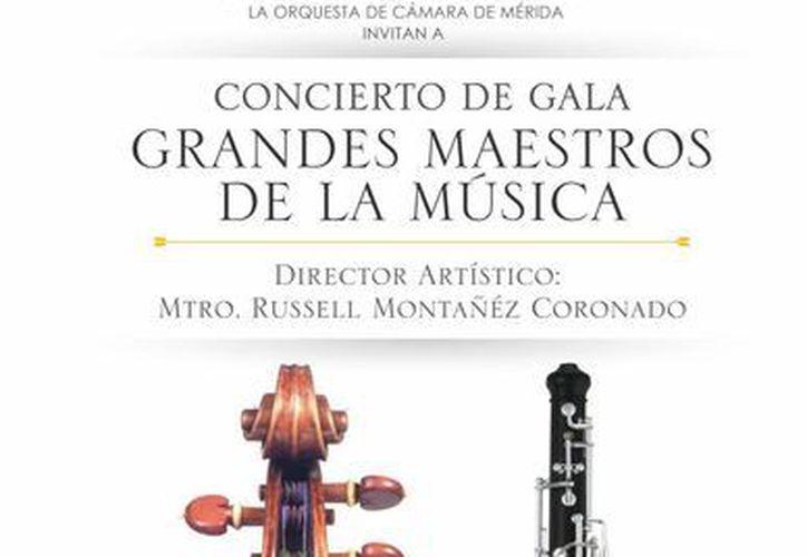 Cartel promocional del concierto 'Grandes Maestros de la Música', que se realizará este domingo 23 de marzo. (Cortesía)