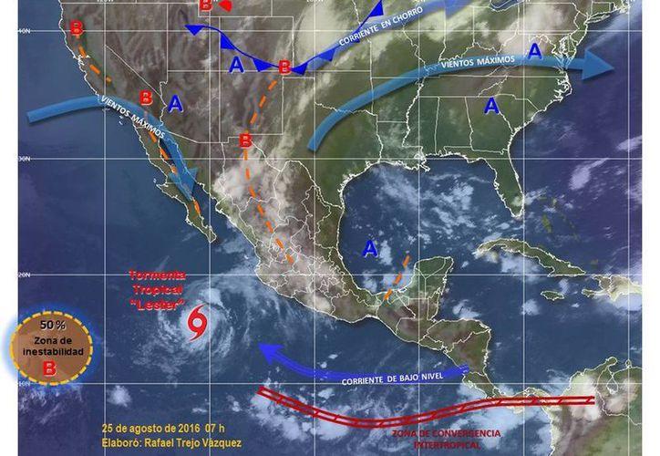 La tormenta tropical Lester se desplaza al oeste-noroeste a 19 kilómetros por hora. (twitter.com/conagua_clima)