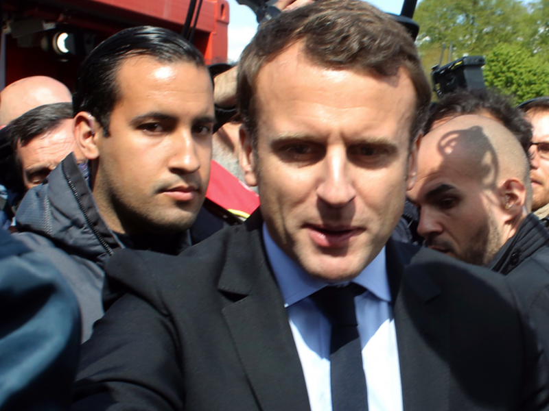 The attack by Alexandre Benalla was caught on camera and is sparking the first major political crisis for the French leader who took office last year.