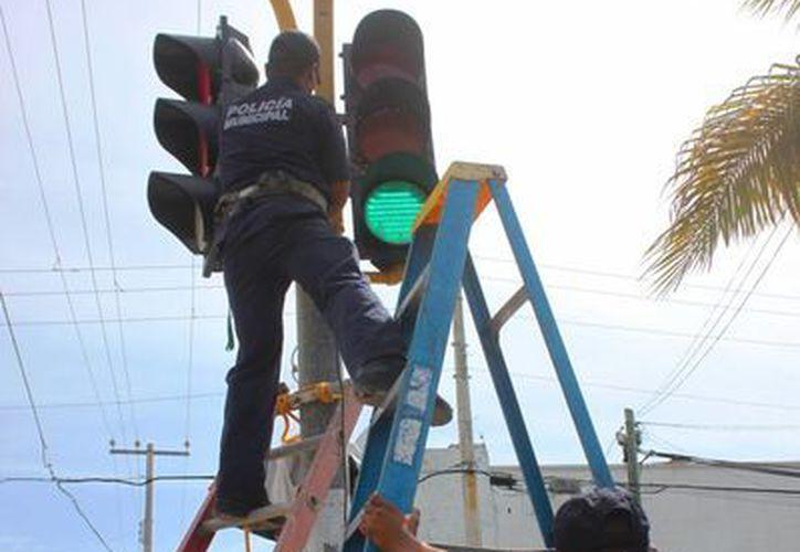 La Dirección General de Seguridad Pública, Tránsito y Bomberos de Solidaridad realiza arreglos en semáforos de Playa del Carmen. (Daniel Pacheco/SIPSE)
