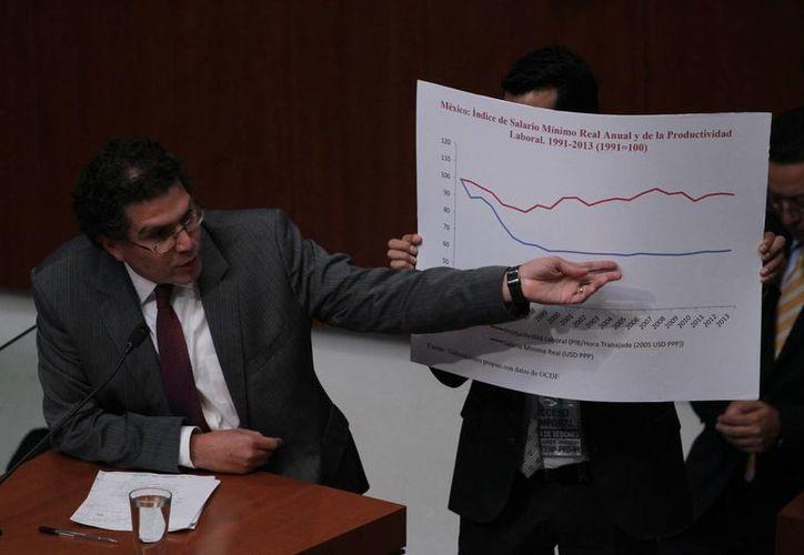 El legislador perredista  Armando Ríos Piter.resaltó que en las últimas tres décadas el salario mínimo ha perdido 75 por ciento de su poder adquisitivo en México. (Notimex/Foto de contexto)