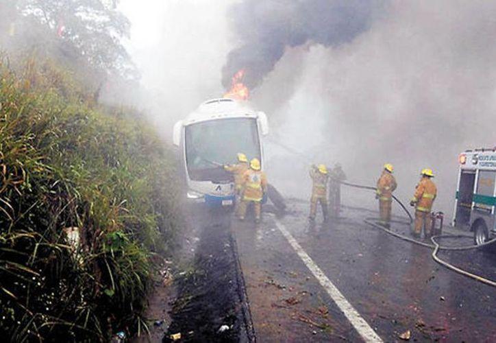Tras el incidente, el autobús quedó sobre la orilla del acotamiento. (Milenio)