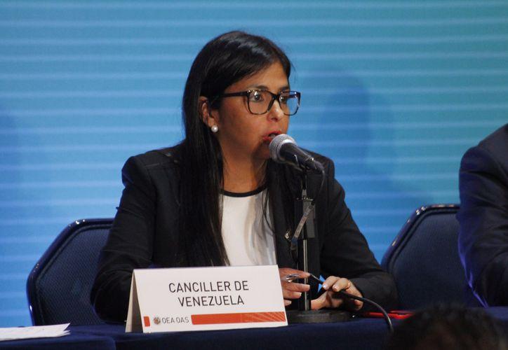 La canciller venezolana, Delcy Rodríguez, anunció en Cancún que su país no reconocerá lo acordado en la reunión de la OEA. (Juan Pablo Torres/SIPSE)