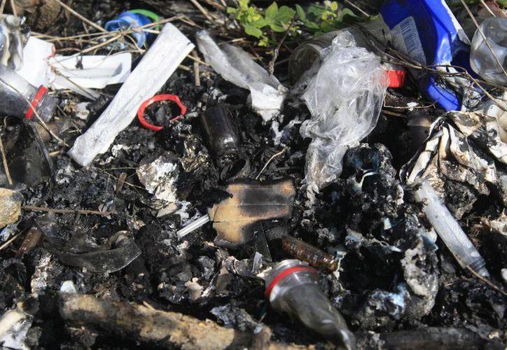 A escasos metros de la entrada del Centro de Salud se ubican montículos de desperdicios quemados. (Harold Alcocer/SIPSE)