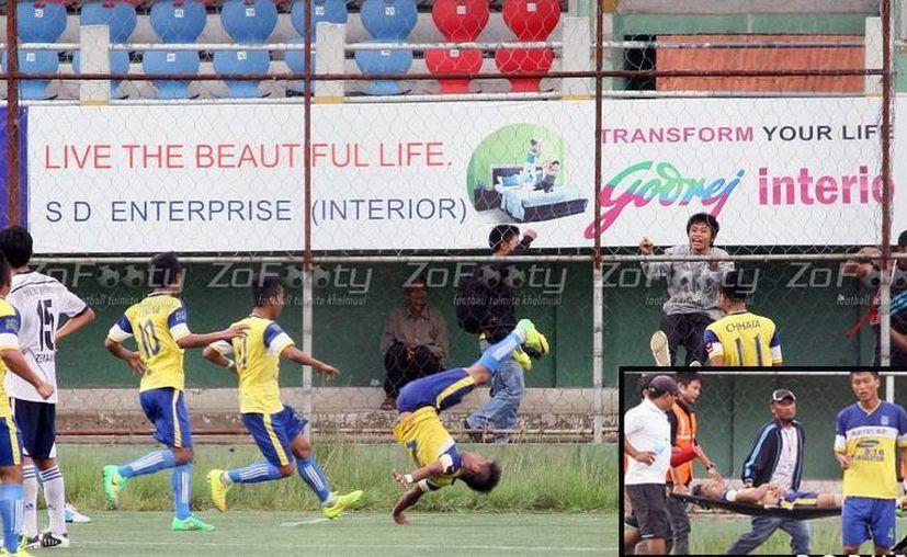 Peter Biaksangzuala trataba de imitar a su ídolo, Miroslav Klose, al celebrar un gol en el futbol de India, pero encontró la muerte. (zofooty.com)