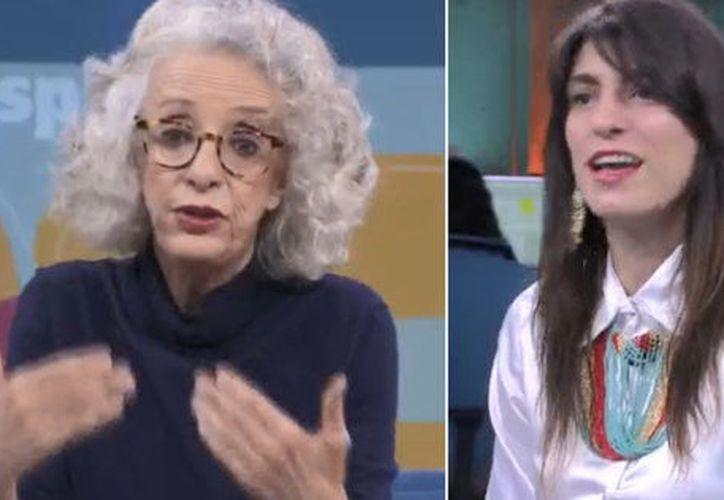 Marta Lamas y Catalina Ruiz Navarro durante una participación en una mesa de discusión. (huffingtonpost.com)