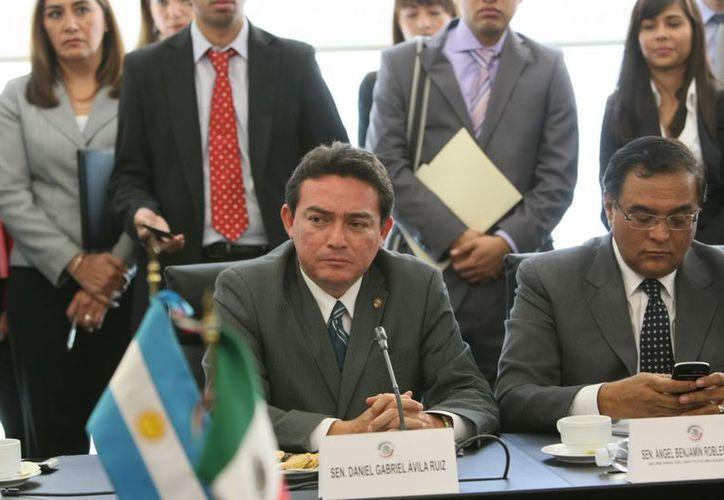 El senador yucateco Daniel Avila Ruiz en reunión en la Cámara Alta. (Cortesía)