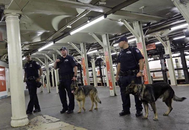 La policía neoyorkina incrementó la vigilancia por el atentado al diario satírico Charlie Hebdo, en París. (EFE)