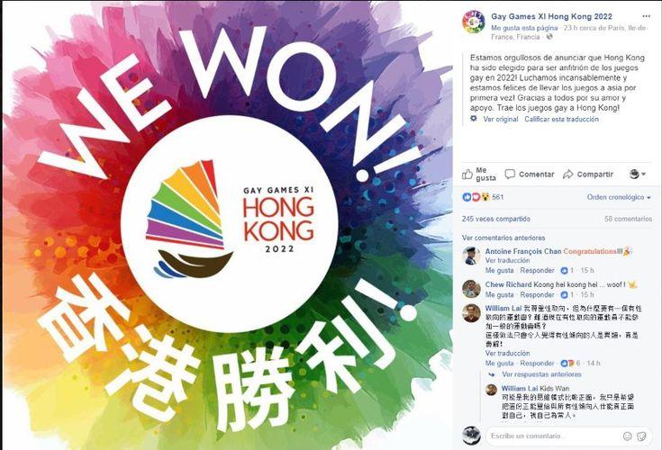 Hong Kong será la sede de los Juegos Gay en 2022